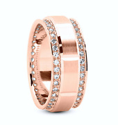 18kt 1.55ct Yellow Gold Mens Ladys Wedding Band 9mm Any Size Double Row