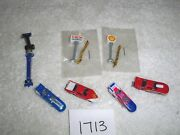 N Scale Scenery Dragster And Racing Car Lot W/ Lighted Gas Signs 1713