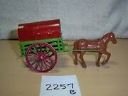 Antique Metal Horse Drawn Covered Wagon Red And Green Made In France 2257b