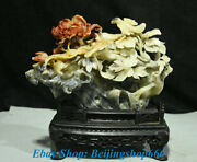 8 Old Chinese Natural Shoushan Stone Carved Peony Flower Bird Art Sculpture