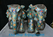 19 Old Chinese Cloisonne Copper Palace Feng Shui Lucky Elephant Statue Pair