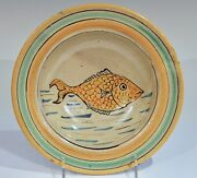 Old Montiel Vintage Guatemalan Pottery Majolica Fish Plate Charger Bowl