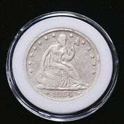 1854-o Seated Liberty Half Dollar Vf Bright Some Luster In Airtight Cap Ge8