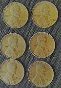Lot Of 6 Rare 1946 Lincoln No Mint Mark Wheat Back One Cent Penny Nice Condition