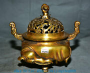 9 Marked Old Chinese Copper Gold Palace Elephant Foot Incense Burner Censer