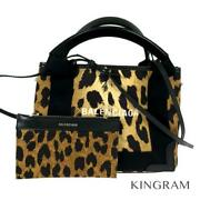 Balenciaga Navy Cabas Xs With Pouch Leopard 390346 Handbag From Japan