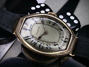 Large Art Deco Movado Tonneau Shaped Watch In 14ct Gold With Original Dial