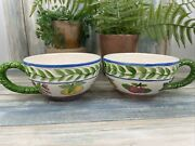 Strata Group Fresh N Fruity Vintage Hand Decorated 2 Tea Cups