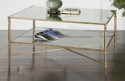 Horchow Barstow Gold Glass Coffee Table Modern French Farmhouse Coastal