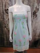 Nwot Lilly Pulitzer Lined Light Blue Floral Sundress With Macrame Trim Size 0
