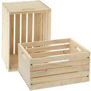 2 Units Of Large Wood Storage Crate - Rustic Wooden Box Unfinished Pine