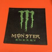 """Raremonster Energy Drink Rubber Bar Spill Mat Square 12"""" X 12"""" Man Cave Used"""