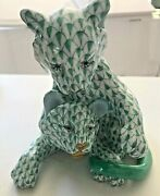 Pair Of Lion Cubs Herend Green Fishnet New Mint Figurine Retails For 1710