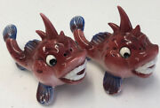 Vintage Anthropomorphic Japan Cute Fish Face Salt And Pepper Shakers Rare Only 1