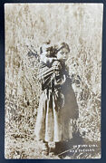1926 Eagle River Ws Usa Postcard Cover Native American Indian Girl And Papoose