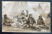 Mint Usa Rppc Real Picture Postcard Native American Indian Family Enjoying Home