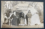 Mint Usa Rppc Real Picture Postcard Native American Indian Family At Home 1936