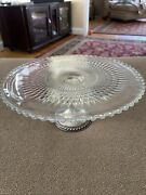 Vintage Duchin Clear Glass Pedestal Cake Stand Sterling Silver Weighted Base Td