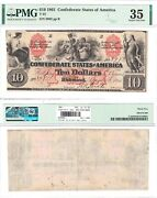 1861 10 Confederate States Note T-22 Pmg Choice Very Fine-35