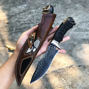 Tactical Fixed Blade Hunting Army Survival Knife Vg10 Handmade Damascus Knives