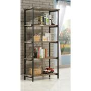 Coaster Skelton 4-shelf Bookcase With Metal Frame Salvaged Cabin And Black