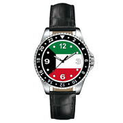 State Of Kuwait Country Flag Unisex Mens Womens Leather Band Quartz Wrist Watch