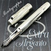 Montegrappa Limited Edition Extra Argento Sterling Silver 18k Fountain Pen