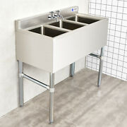 Giantex Nsf Stainless Steel Utility Sink 3 Compartment Commercial Sink Silver
