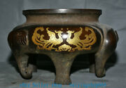 Old Chinese Purple Copper Palace Elephant Foot Phoenix Incense Burners Censer