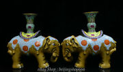 8.4 Chinese Colour Enamels Porcelain Dynasty Elephant Statue Candlestick Pair
