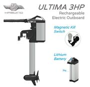 Haswing Ultima 3hp Electric Outboard 63cm Shaftwith 1030 Watt Lithium Battery.