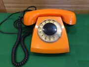 Vintage 1980 Rotary Dial Phone Desk Orange Home Russian Soviet Made In Ussr