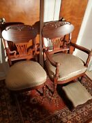 Vintage Carl Forslund Canterbury Cherry Wood Chairs And Footstool.