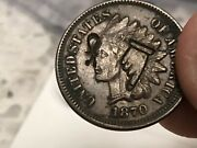 1870 1c Indian Head Cent Penny Coin Vf-xf Problem Free Rare Counterstamps