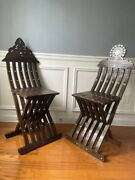 Antique Pair Of Syrian Folding Scribe Mother Of Pearl Inlay Wood Chairs