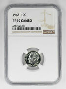1963 Proof Roosevelt Dime 10c Ngc Certified Pf 69 Uncirculated - Cameo 011