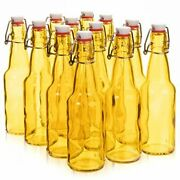 11 Oz. Yellow Glass Grolsch Beer Bottle, Quart Size - Airtight Seal With Swing T