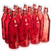 33 Oz. Red Glass Grolsch Beer Bottle, Quart Size - Airtight Seal With Swing Top/