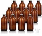 12 Oz Home Brewing Dark Amber Glass Empty Refillable Beer Bottles With Gold Crow