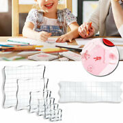 7pcs/set Stamps Pad Tools Diy Stamp Acrylic Block Pad With Grid Grip For Clear
