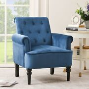 Tufted Accent Arm Chair Single Sofa Living Room Cushion With Wooden Legs Elegant