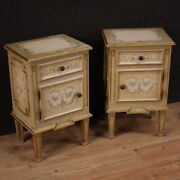 Pair Of Night Stands Antique Style Louis Xvi Furniture Lacquered Bedside Tables