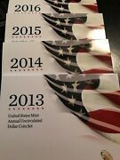 2013 2014 2015 And 2016 Mint Annual Unc. Dollar Sets W/burnished Silver Eagles