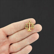 6 Law Scales Of Justice Antique Gold Tone Charms 2 Sided - Gc853