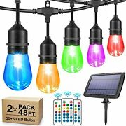2-pack Rgb Solar String Lights Outdoor 48ft Dimmable Color Patio Lights With Re