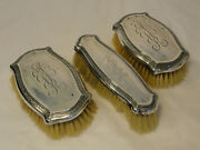 Antique R Blackinton And Co Sterling Silver Dresser Brush Set Grooming Clothes C3