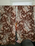 Vtg 2 Panel Barkcloth Drapes Curtains White Brown Floral 63l Thermal Line Sears