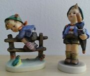 Vtg Lot Of 2 Goebel Hummel Home From Market Tmk4 And Retreat To Safety Tmk5