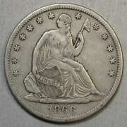 1866-s With Motto Seated Liberty Half Dollar, Choice Very Fine, Wb-5  0830-10