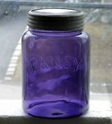 Antique Canadian Pansy Deep Purple Fruit Large Canning Jar Free Shipping